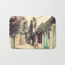 Just like a dream street, Cartagena (Retro and Vintage Urban, architecture photography) Bath Mat