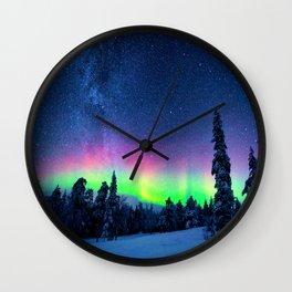 Aurora Borealis Over Wintry Mountains Wall Clock