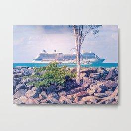 Cruise Ship Beyond The Sea Wall Metal Print