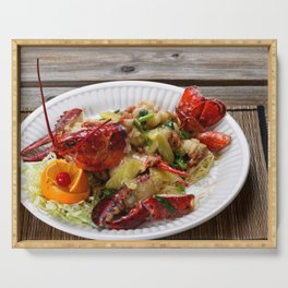 Steamed whole Maine lobster with fresh garnishes Serving Tray