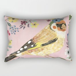 Goldfinch bird with floral crown Rectangular Pillow