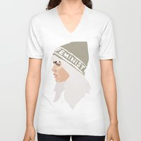 feminist V-neck T-shirts featuring Feminist (Silver) by Anna McKay