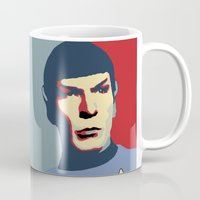 spock Mugs featuring Spock by Blueshift