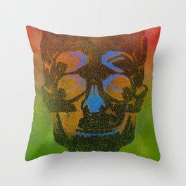 4i skull stencil art - black Throw Pillow