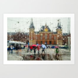 Amsterdam Rainy Day - A street scene by the Centraal Station Art Print