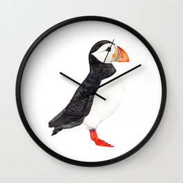 Watercolor Puffin Wall Clock