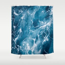 Blue deep sea foaming water illustration Shower Curtain