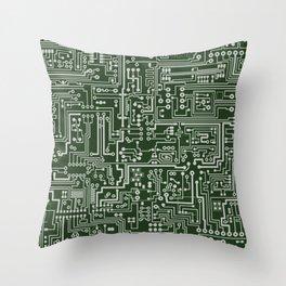 Circuit Board // Green & Silver Throw Pillow
