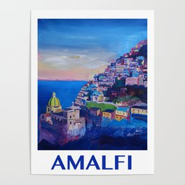 Retro Vintage Style Travel Poster Amazing Amalfi Coast At Sunset Poster