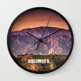 hollywood sign aerial view Wall Clock