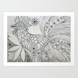 Rooster Doodle Art Print