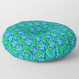 Cannabis Print Green and Blue Floor Pillow