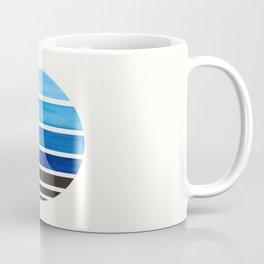 Prussian Blue Mid Century Modern Minimalist Circle Round Photo Staggered Sunset Geometric Stripe Des Coffee Mug