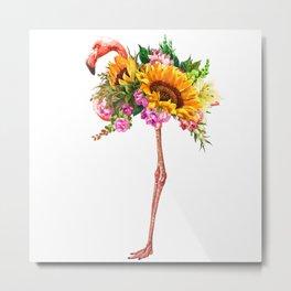 Flamingo with Sunflowers Crown Metal Print