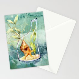 Watercolor Under Sea Collection: Shells in a Bottle Stationery Cards