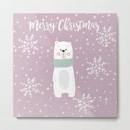 Cute Polar Bear Pink Metal Print