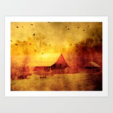 Surreal Barn Landscape - Red Yellow Barn With Flying Ravens Art Print