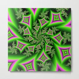 Green And Pink Shapes Fractal Metal Print
