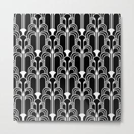 Art Deco Fountain Black and White Metal Print