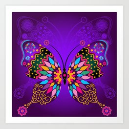 Colorful Butterflies and Flowers V23 Art Print