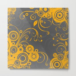 Floral, abstract circles, vines, lines, leaves, yellow, grey Metal Print