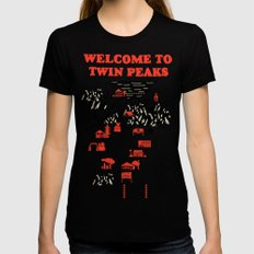 Twin Peaks Map SMALL Womens Fitted Tee Black