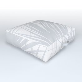 Pale Grey Tropical Leaves Outdoor Floor Cushion
