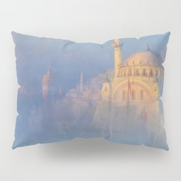 Constantinople (Istanbul) Süleymaniye Mosque in Fog by Ivan Aivazovsky Pillow Sham