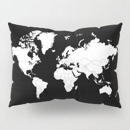 Minimalist World Map White on Black Background. Pillow Sham