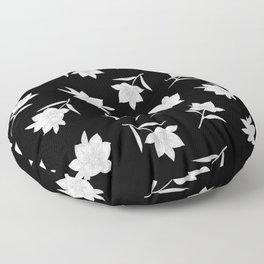 Black & White Botanical Floral Pattern Floor Pillow