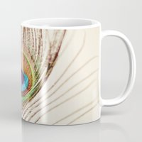 peacock Mugs featuring Peacock by Laura Ruth