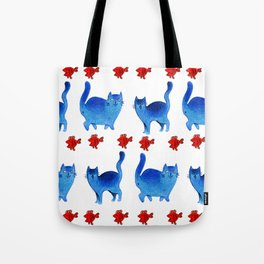 Phtalo cats Tote Bag