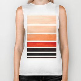 Burnt Sienna Minimalist Mid Century Modern Color Fields Ombre Watercolor Staggered Squares Biker Tank