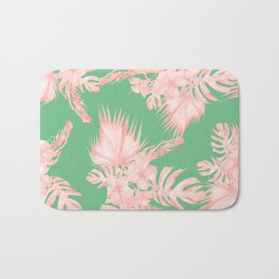 Dreaming of Hawaii Seashell Pink + Green Bath Mat