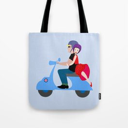 Couple on a motorcycle Tote Bag