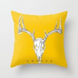 Antler Skull on Yellow by Ron Brick Throw Pillow