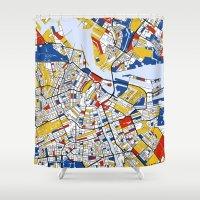 mondrian Shower Curtains featuring Amsterdam Mondrian by Mondrian Maps