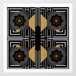 Modern Gold Black White Geometrical Multi Pattern Art Print