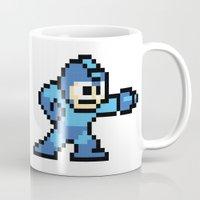 mega man Mugs featuring Pixelated Mega Man by Katadd