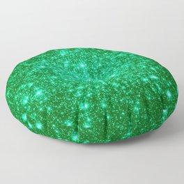 Emerald Green Glitter Stars Floor Pillow