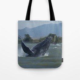 Humpback Whale Breaching by Windsurfers Tote Bag