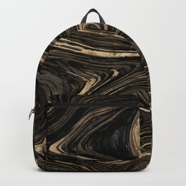 Black and gold Liquid Marble Watercolor Backpack