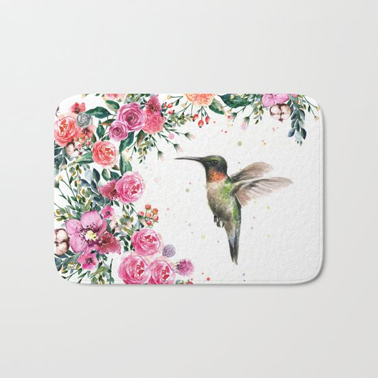 Hummingbird and Flowers Watercolor Animals Bath Mat