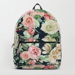 Country chic navy blue pink ivory watercolor floral Backpack
