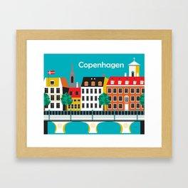 Copenhagen, Denmark - Skyline Illustration by Loose Petals Framed Art Print