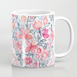 Coral and Grey Candy Striped Crayon Floral Coffee Mug
