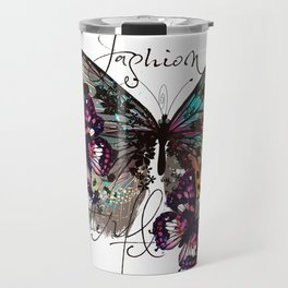 Fashion art print with colorful tropical butterly Travel Mug