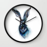 hare Wall Clocks featuring Blue Hare by ECMazur