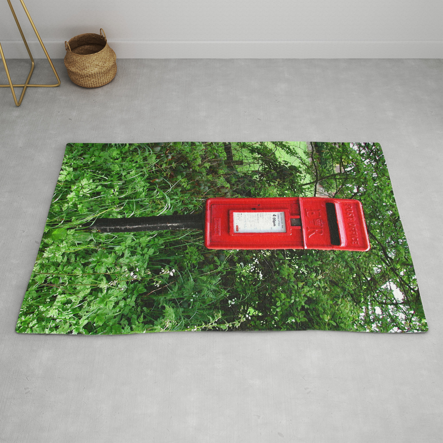 Red Uk Letterbox Painting Rug By