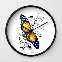 Butterfly Over Spirals Wall Clock